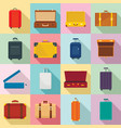 suitcase travel luggage bag icons set flat style vector image vector image