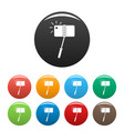 take a photo at monopod icons set color vector image