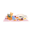 tasty food and drinks lying in basket vector image