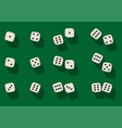 Top view white dice casino dice on green