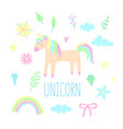 Unicorn set vector image