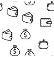 wallet icon seamless pattern vector image vector image