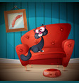 who is sitting on the couch cartoon vector image