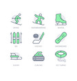 winter sport simple line icons vector image