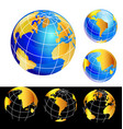 world earth globe set icon vector image