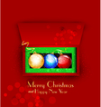 Christmas background with balls and gifts vector image