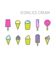 Set of color line icons Ice cream vector image