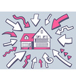 arrows point to icon of home on gray back vector image