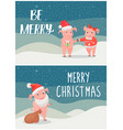 be merry wishes on christmas male female piglets vector image vector image