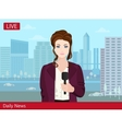 Beautiful young woman TV news reporter on the vector image vector image