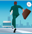 businessman go to work in business center vector image vector image
