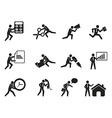 businessman office working man icons set vector image vector image