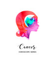 cancer zodiac sign beautiful girl silhouette vector image vector image