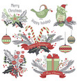 christmas decoration set gifts animals toys vector image vector image