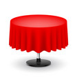 classic round table with red cloth isolated on vector image vector image