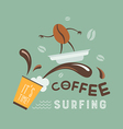 coffee surfing vector image vector image