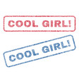 cool girl exclamation textile stamps vector image vector image