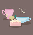 cups tea natural with slice cake vector image vector image