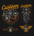 custom motorcycle vintage colorful labels vector image vector image