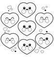 cute heart characters coloring page vector image