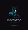 cybernetic robot mosquito logo icon vector image vector image