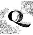 flower alphabet letter q pattern vector image