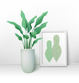 flower in a pot and a big frame for pictures vector image