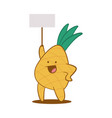 funny pineapple with empty board character vector image vector image