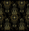 gold compass seamless pattern vector image vector image
