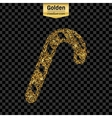 Gold glitter icon of stick candy isolated vector image