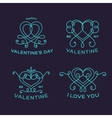 Graceful Floral Valentine Line Style Heart Labels vector image