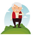 happy grandfather cartoon vector image