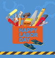 happy labor day isometric tool icon vector image vector image