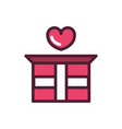 happy valentines day gift box with heart love vector image vector image