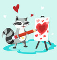happy valentines day raccoon with easel board vector image vector image