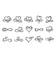 infinity love flourish hand drawn heart vector image vector image