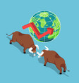 isometric bulls fighting with world and growth vector image vector image