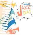 jazz day poster of colorful music band instruments vector image vector image