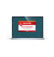 laptop screen with alert message virus detected vector image