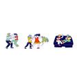 little kids fighting and quarreling at playing vector image vector image