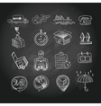 logistic chalk board icons set vector image vector image