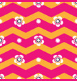 pink and orange chevron with white daisies vector image vector image