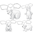 Polar bear and speech bubbles vector image