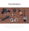 Police workspace icons policeman working cabinet vector image vector image