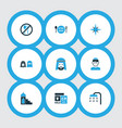 religion icons colored set with mullah ghusl vector image vector image