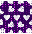 seamless pattern with hearts and dots in a pop vector image