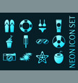set beach blue glowing neon icons vector image