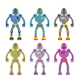 Set colored robots Retro mechanical toys Vintage vector image