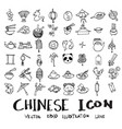 Set of object related to chinese doodle style vector image