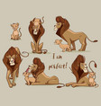 set with cute lions vector image